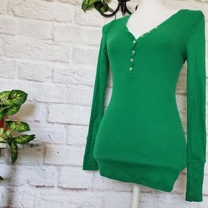 Old Navy Green Bodycon Thermal Blouse